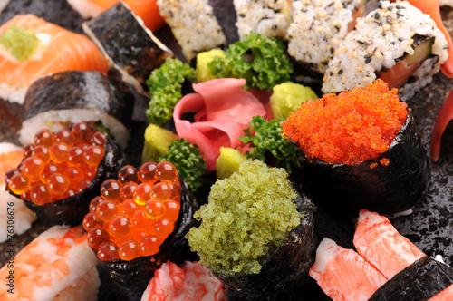 Tobiko - flying fish roe sushi with assorted sushi platter