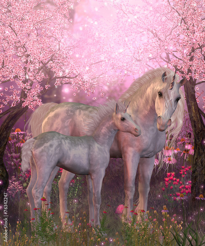 White Unicorn Mare and Foal #76342247