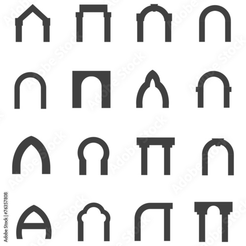 Photo Black monolith vector icons for archway