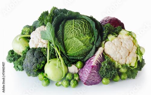 Fotografia Fresh Farm Vegetables on White Background