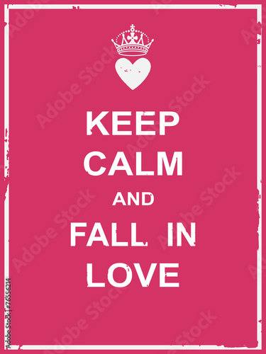 Canvas Print Keep calm and fall in love