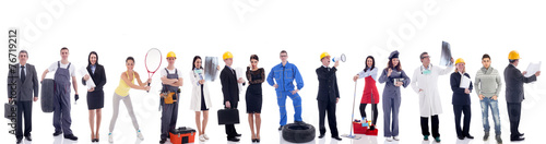 Obraz na plátně Group of industrial workers. Isolated on white background.