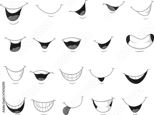 Obraz na płótnie Set of smiling mouth