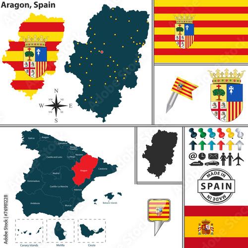 Canvas Print Map of Aragon, Spain