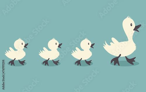 Stampa su Tela Duck family retro style colors, vector illustration