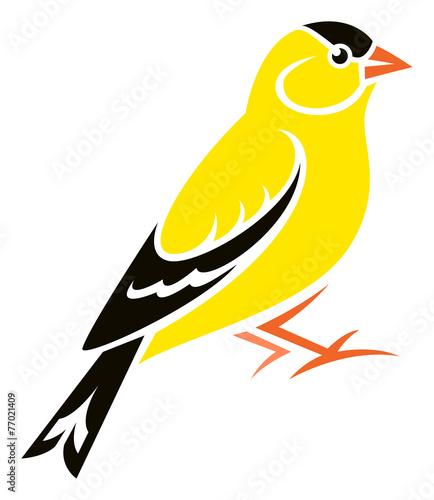 Canvas-taulu Stylized Bird - American Goldfinch