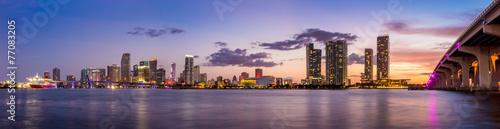 Miami city skyline panorama at twilight