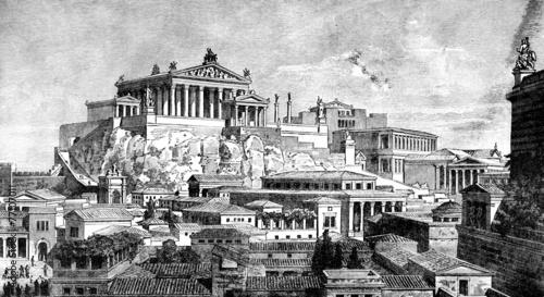 Fényképezés Victorian engraving of the ancient city of Rome
