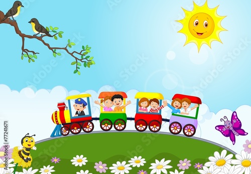 Happy kids on a colorful train #77241671