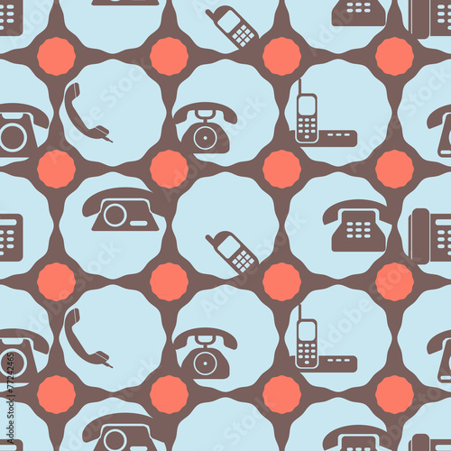 Wallpaper Mural seamless background with telephone icons for your design