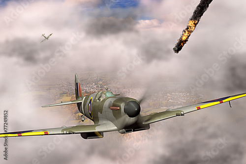 Leinwand Poster Supermarine Spitfire victorious during WW2