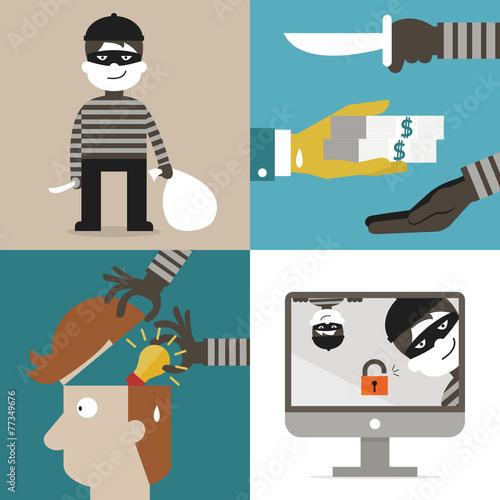 Carta da parati Thief and hacker