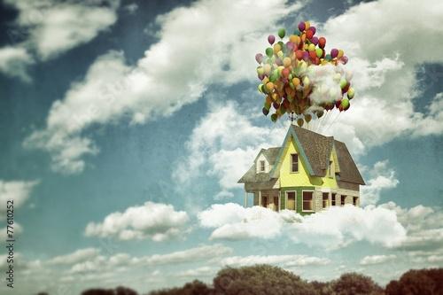 Wallpaper Mural flying house