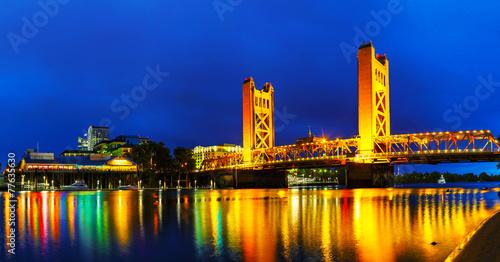 Panorama of Golden Gates drawbridge in Sacramento #77635630
