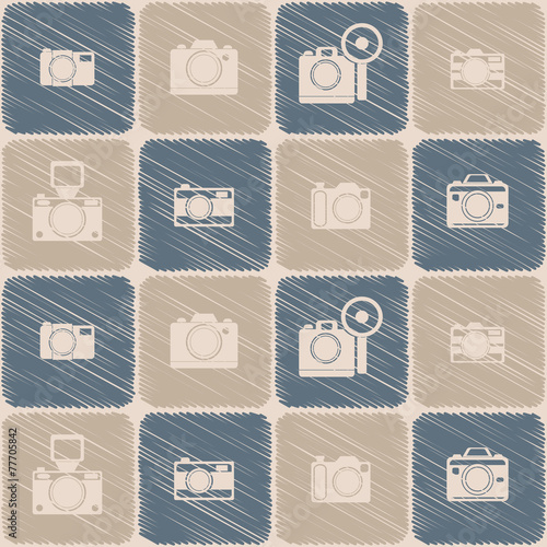 Wallpaper Mural seamless background with photo camera symbols for your design