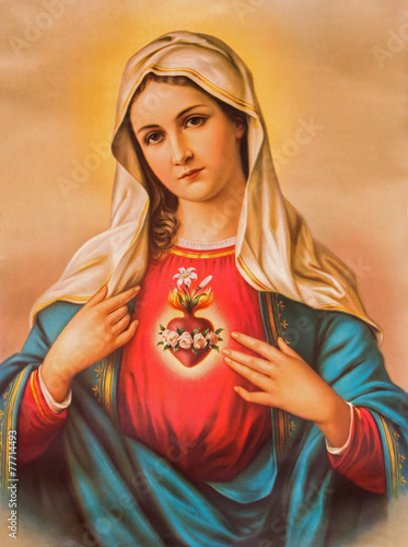 Fotografie, Obraz Srdce Panny Marie - typický katolický image