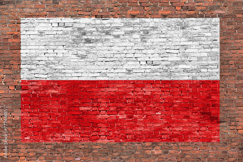Wallpaper Mural Flag of Poland painted on brick wall