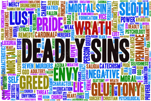 Fototapeta Tag cloud related to seven deadly sins