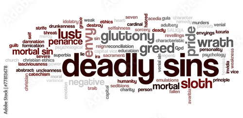 Slika na platnu Tag cloud related to seven deadly sins