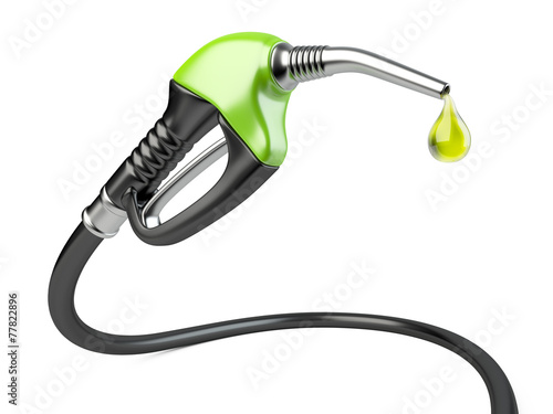 Fotografie, Tablou Green fuel pump nozzle with drop oil.