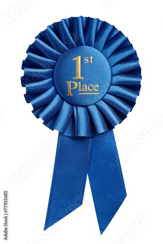 First place award, rosette isolated on white background Fototapeta