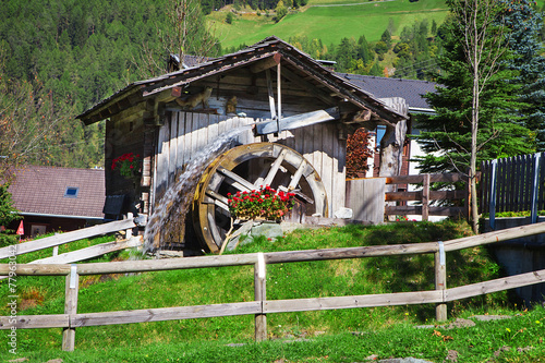 Wooden wheel of an ancient water mill
