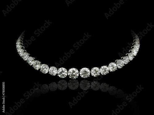 Fotografie, Obraz Round diamonds necklace