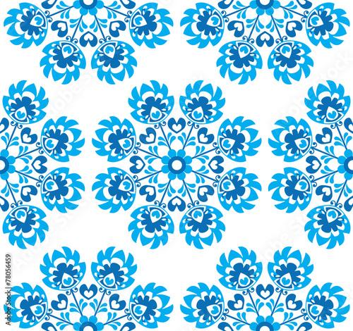 Seamless blue floral Polish folk art pattern - wycinanki