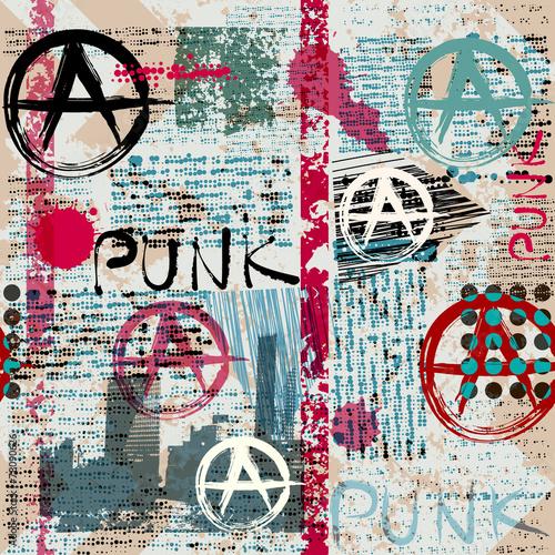 Canvas Print Grunge newspaper with word Punk.