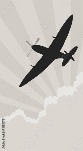 Canvas Print spitfire silhouette