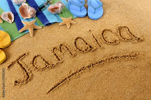Photo Jamaica beach writing