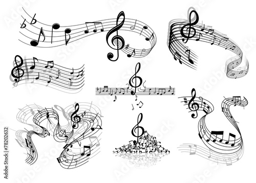 Abstract music staves with notes #78202632