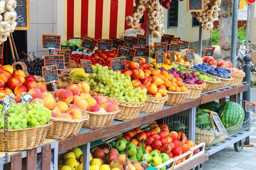 Fotografie, Obraz Fruit stall in the Italian city market