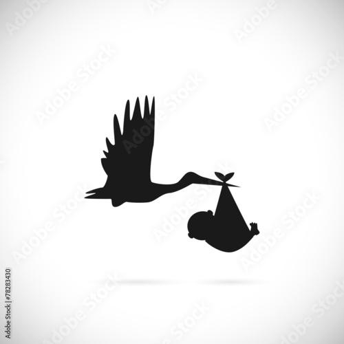 Wallpaper Mural Stork and Baby Illustration