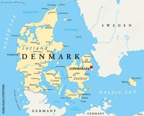 Wallpaper Mural Denmark Political Map