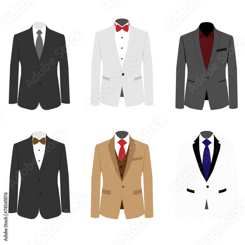 Fotografia, Obraz Set of 6 illustration handsome business suit