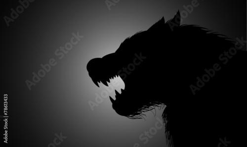 Canvas Print A werewolf lurking in the dark