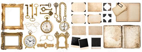 Fotografie, Obraz Antique book, aged paper, golden keys. Collection of vintage obj