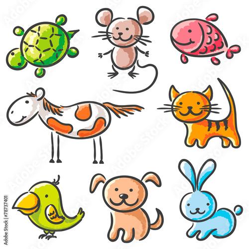 Set of sketchy pets #78737401