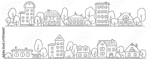 Slika na platnu Trees and houses in a row for your frame