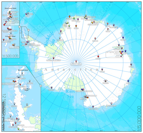 Stampa su Tela Pinned countries flags on Antarctica map