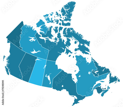 Fotografie, Obraz Canada regions map