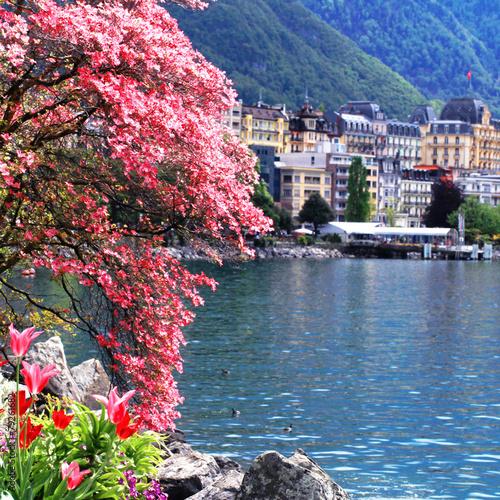 Photo Montreux and  Lake Geneva, Switzerland.