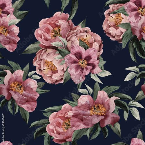 Obraz na płótnie Kwiatowy wzór z czerwonymi różami