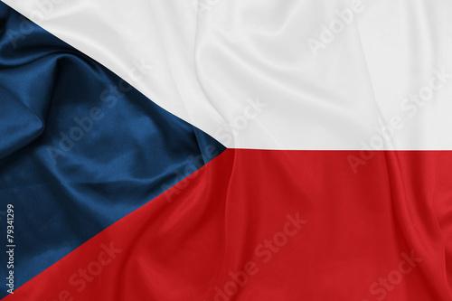 Wallpaper Mural Czech Republic - Waving national flag on silk texture