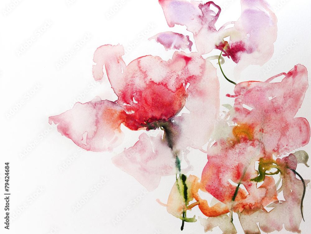 Papier akwarelowy kwiaty <span>plik: #79424684 | autor: bittedankeschön</span>
