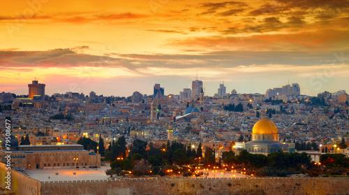 Fototapeta premium Panorama starego miasta w Jerozolimie. Izrael