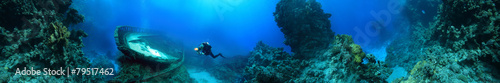 Photo wreck at the bottom of the Red Sea