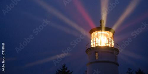 Photo Lighthouse Beams Illumination Into Rain Storm Maritime Nautical