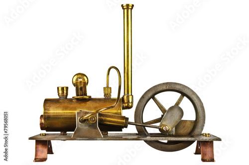 Fototapeta Vintage steam engine isolated on white